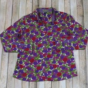 Boden Button Down Top L/S Floral Vibrant Work